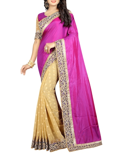 magenta half and half saree with blouse - 14480699 - Standard Image - 1