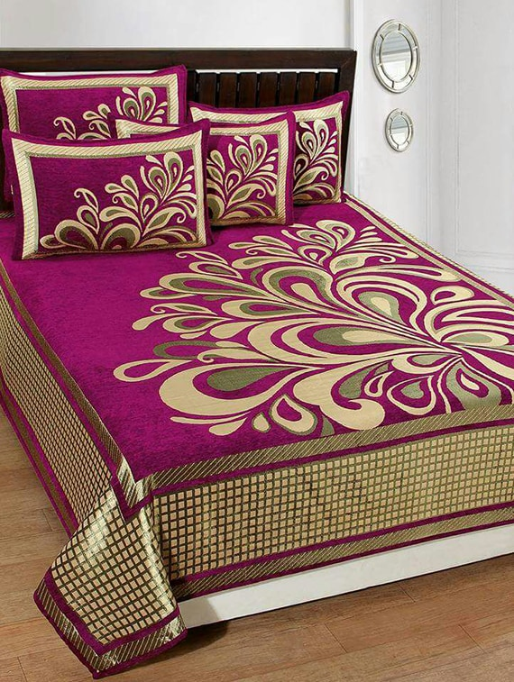Buy Chenille Double Bed Cover With 2 Pillow Covers By Homesense