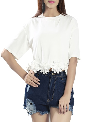 white poly viscose crop top - 14481290 - Standard Image - 1