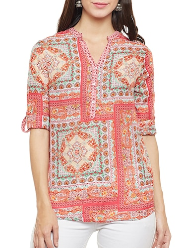Orange printed top - 14481999 - Standard Image - 1