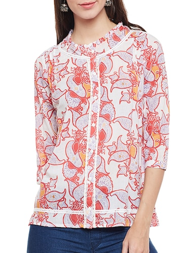 pink printed cotton top - 14482015 - Standard Image - 1