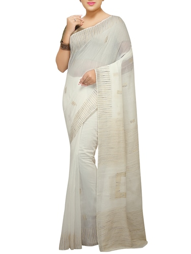 Ghicha Border handloom saree with blouse - 14482022 - Standard Image - 1