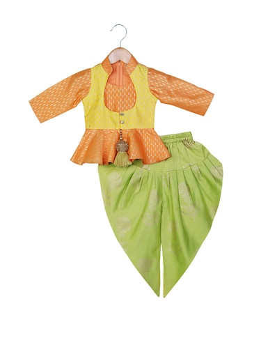 orange Peplum Top with Dhoti - 14482268 - Standard Image - 1