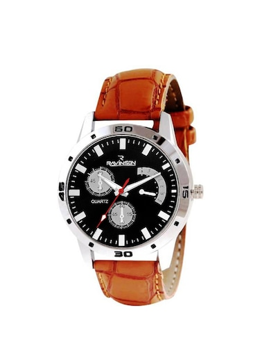 Ravinson 3801SL01 New Gen Black Dial Brown Strap Stylish Analog Casual Watch  - For Men - 14483245 - Standard Image - 1