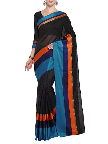 Stripes bordered saree with blouse - 14483370 - Standard Image - 1