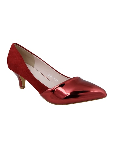 maroon faux leather slip on pumps - 14484415 - Standard Image - 1