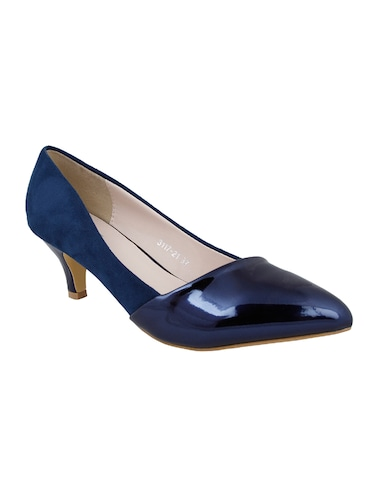 navy faux leather slip on pumps - 14484416 - Standard Image - 1