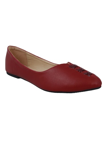 maroon faux leather slip on ballerina - 14484475 - Standard Image - 1