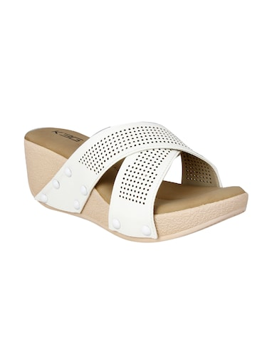 white faux leather slip on wedges - 14484667 - Standard Image - 1