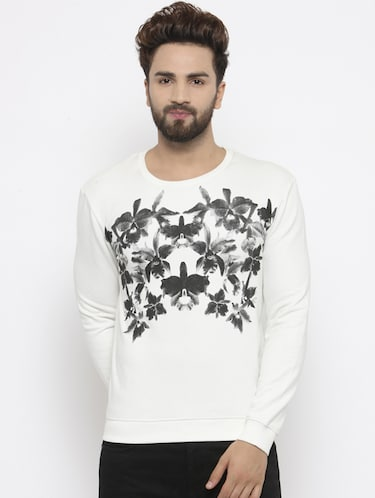 white cotton chest print sweatshirt - 14484828 - Standard Image - 1