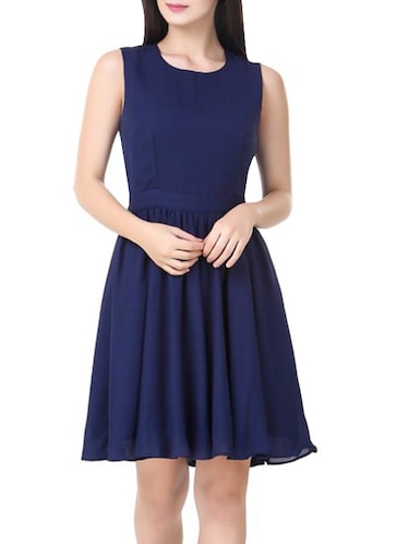 navy blue poly georgette a-line dress - 14485386 - Standard Image - 1