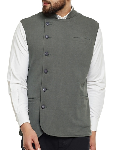 grey cotton nehru jacket - 14485609 - Standard Image - 1