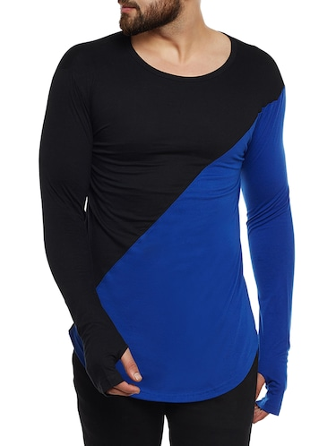 blue and black cotton blend thumb hole  t-shirt - 14485620 - Standard Image - 1