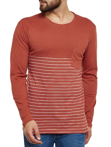 orange cotton pocket  t-shirt - 14485638 - Standard Image - 1