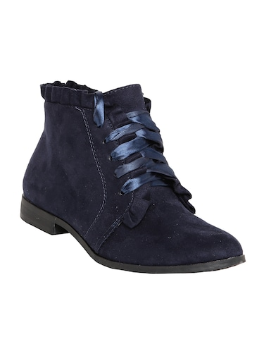 navy lace-up ankle  boot - 14485787 - Standard Image - 1