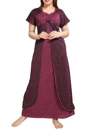 Purple chevron nightwear gown - 14486167 - Standard Image - 1
