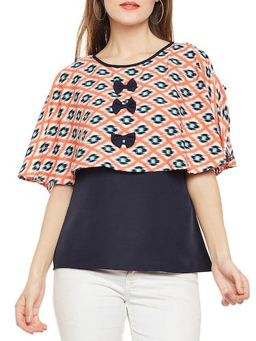 Ikat Bow detail overlay top - 14486473 - Standard Image - 1