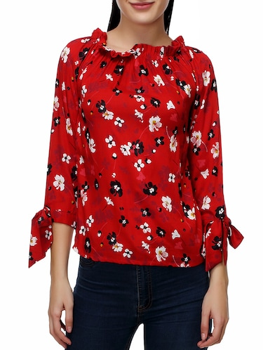 red rayon printed top - 14487200 - Standard Image - 1