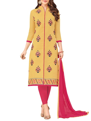 Embroidered semi-stitched churidaar suit - 14490284 - Standard Image - 1