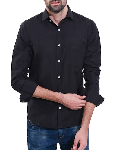 black cotton casual shirt - 14491799 - Standard Image - 1