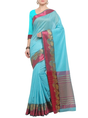 turquoise bordered saree with blouse - 14491857 - Standard Image - 1