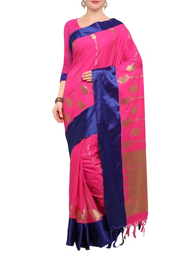 pink silk blend kanjivaram saree with blouse - 14491906 - Standard Image - 1