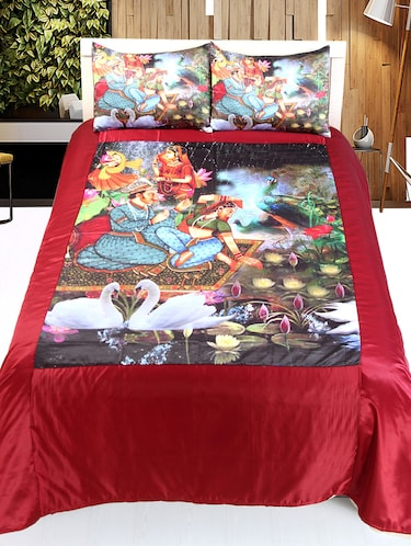 Culture Print satin Double bedsheet with 2 Pillow Covers - 14494125 - Standard Image - 1