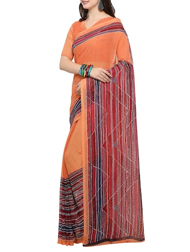 peach chiffon printed saree with blouse - 14494198 - Standard Image - 1