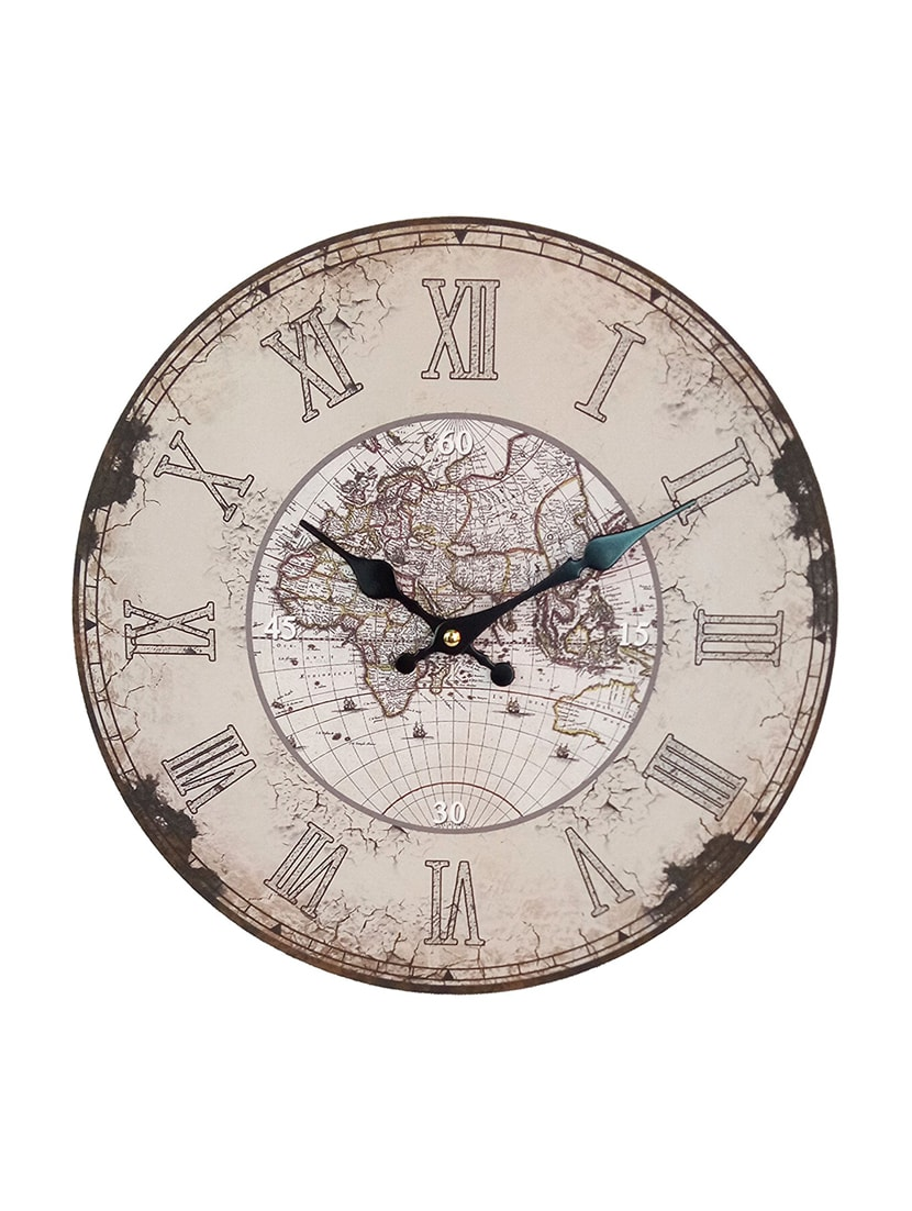 Buy distressed european finish world map printed wooden vintage wall buy distressed european finish world map printed wooden vintage wall clock by swagger online shopping for wall clocks in india 14494874 gumiabroncs Image collections