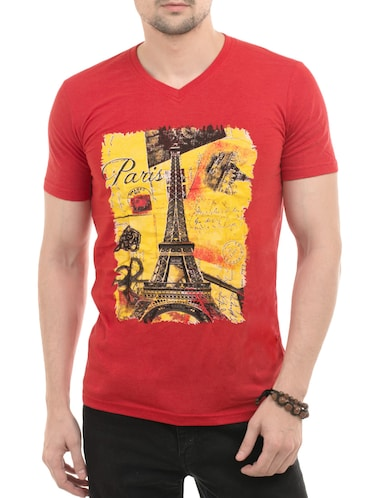 red cotton front print tshirt - 14494966 - Standard Image - 1