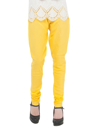yellow cotton churidars - 14495432 - Standard Image - 1