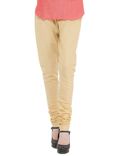beige cotton churidars - 14495438 - Standard Image - 1