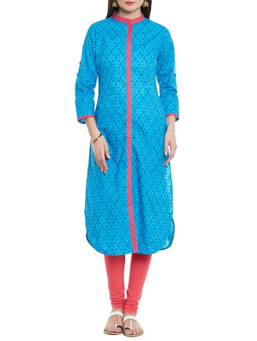 Blue cotton straight kurta - 14495447 - Standard Image - 1
