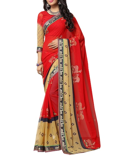 red georgette printed saree with blouse - 14496796 - Standard Image - 1