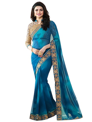 blue georgette printed saree with blouse - 14496804 - Standard Image - 1