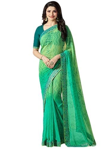 green georgette printed saree with blouse - 14496822 - Standard Image - 1