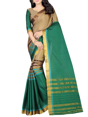 green silk woven saree with blouse - 14496846 - Standard Image - 1