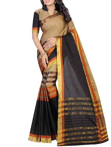 beige silk woven saree with blouse - 14496850 - Standard Image - 1