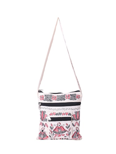 white cotton regular sling bag - 14497294 - Standard Image - 1