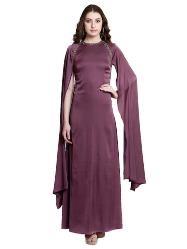 purple poly lycra gown dress - 14497712 - Standard Image - 1