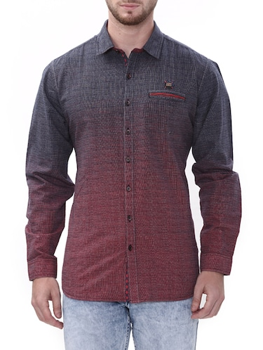 maroon cotton casual shirt - 14498573 - Standard Image - 1