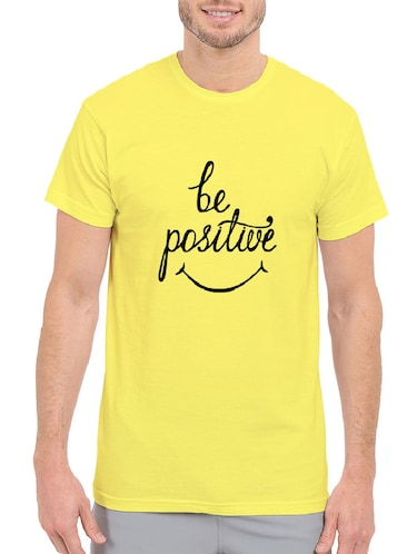 yellow cotton chest print tshirt - 14499490 - Standard Image - 1