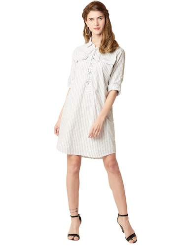 eyelet lace-up striped shift dress - 14499522 - Standard Image - 1