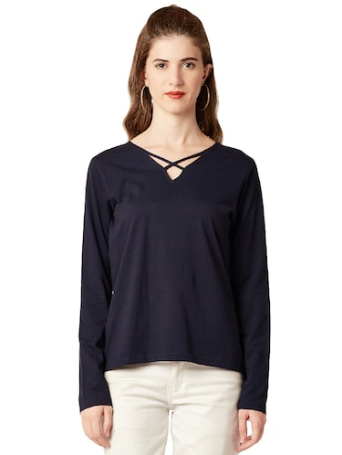 criss-cross neck knitted top - 14499578 - Standard Image - 1