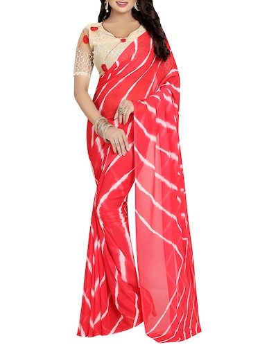 red leheriya saree - 14499656 - Standard Image - 1