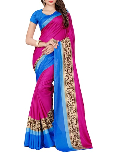 pink silk blend mysore saree with blouse - 14499738 - Standard Image - 1
