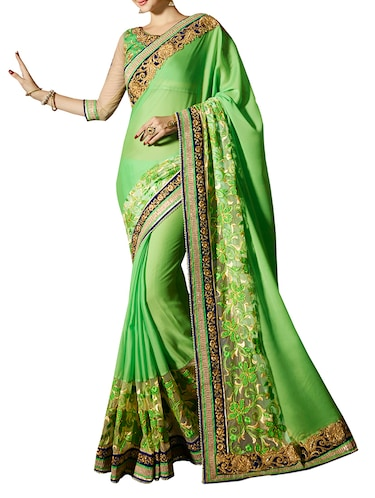 green poly georgette embroidered saree with blouse - 14499745 - Standard Image - 1