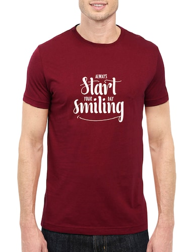 maroon cotton chest print tshirt - 14501626 - Standard Image - 1