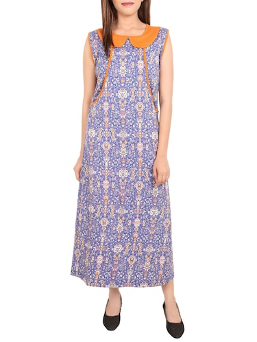 blue printed cotton gown - 14502084 - Standard Image - 1
