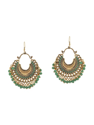 green metal other earrings - 14502695 - Standard Image - 1